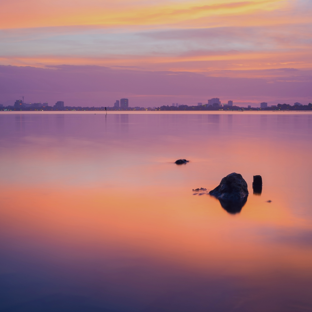 calm waters outside city